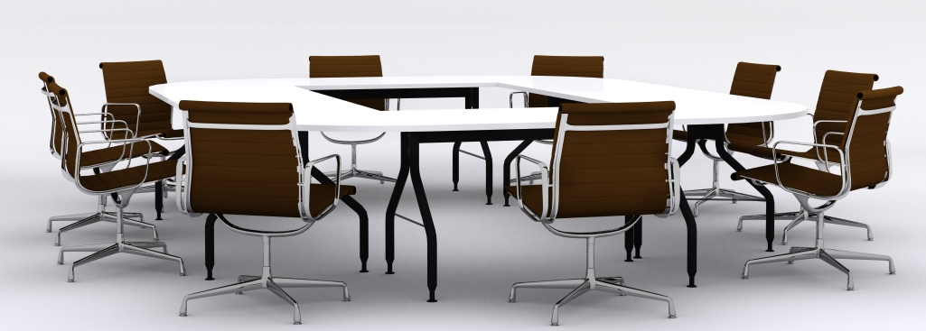boardroom table with chairs around it