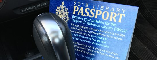 car gear shift and Region of Waterloo Library passport
