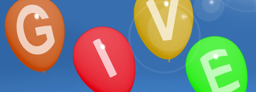 balloons with the letters give on them