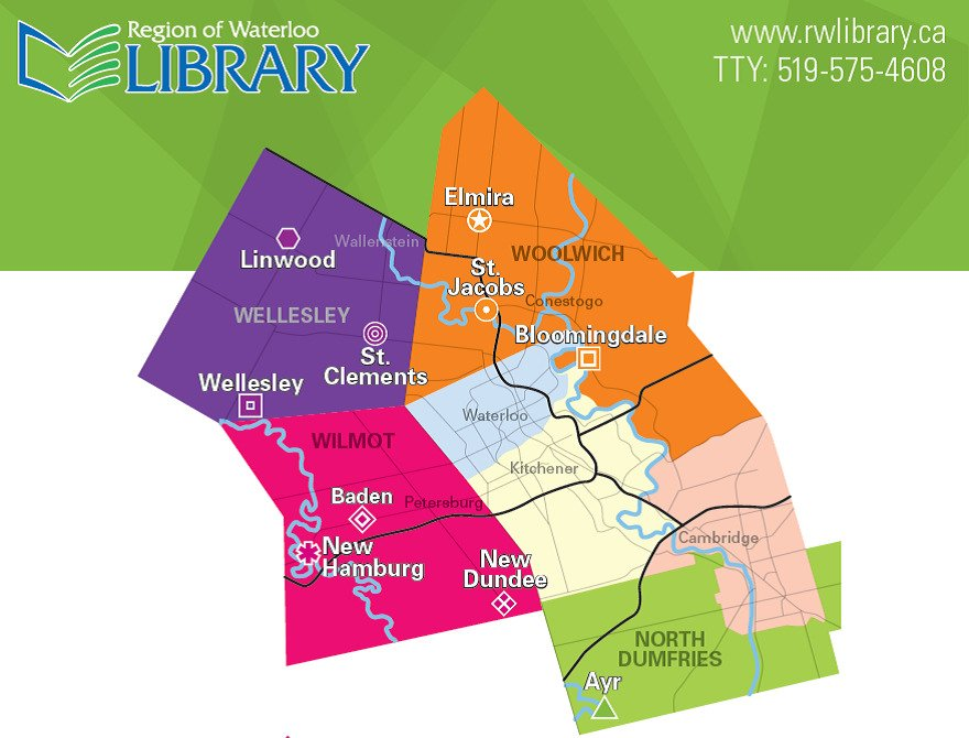 Map of library locations in the Region of Waterloo.